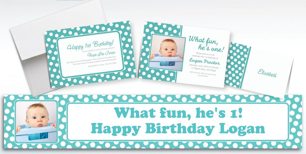 Custom Robin's Egg Blue Polka Dot Invitations and Thank You Notes