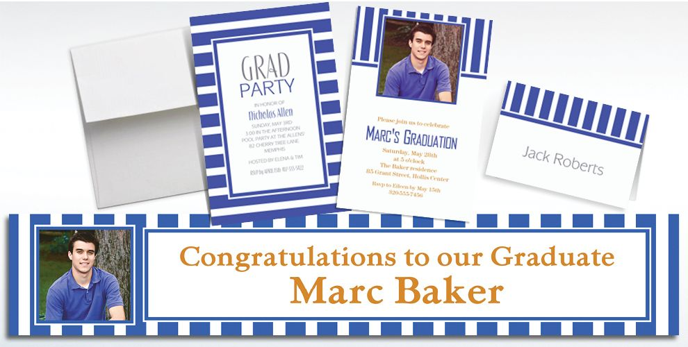 Custom Royal Blue Striped Invitations and Thank You Notes