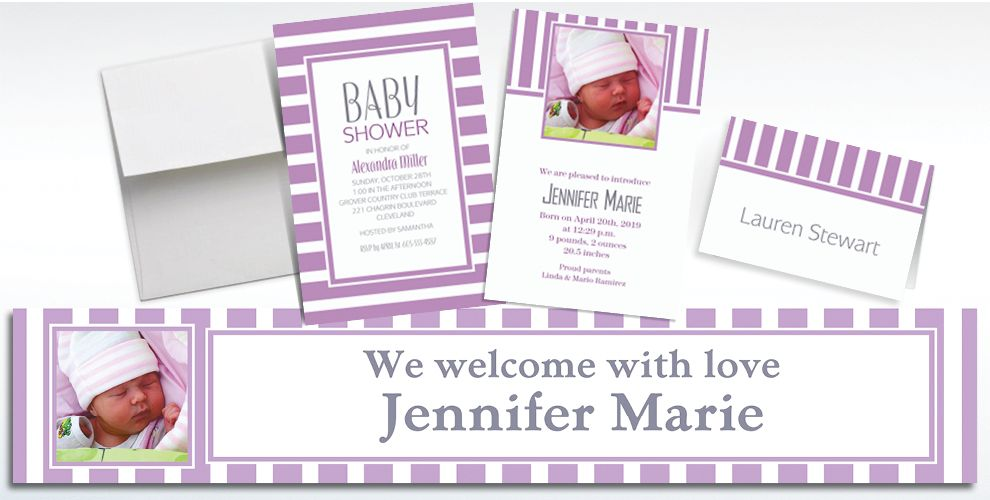 Custom Lavender Striped Invitations and Thank You Notes