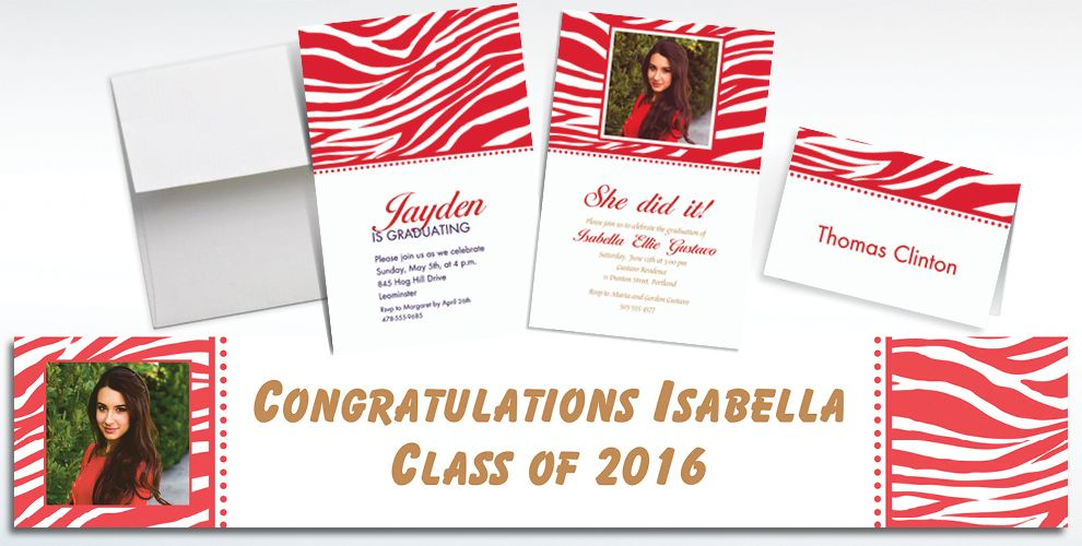 Custom Red Zebra Invitations and Thank You Notes