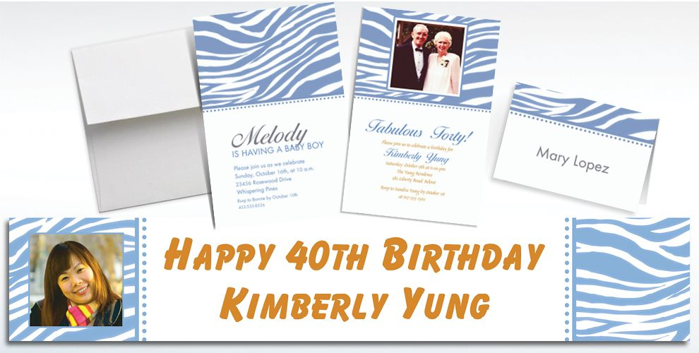Custom Pastel Blue Zebra Invitations and Thank You Notes