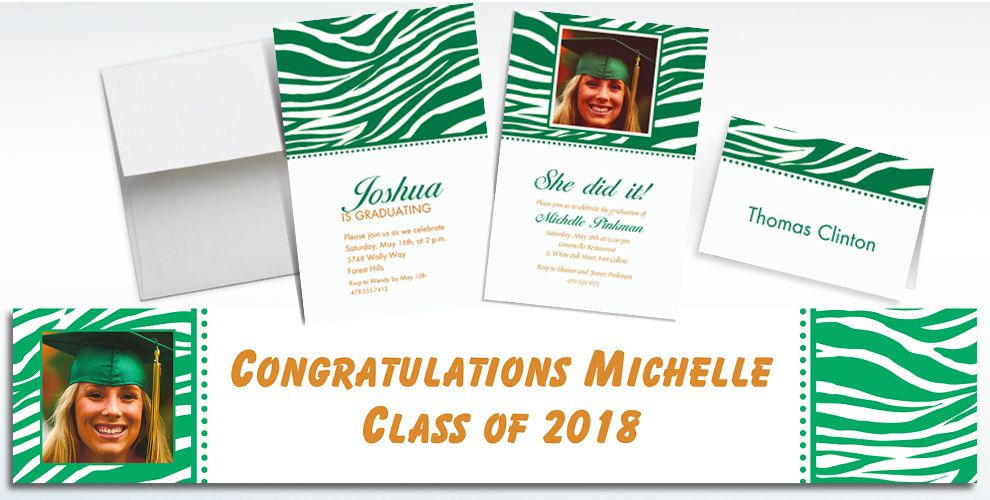 Custom Festive Green Zebra Invitations and Thank You Notes