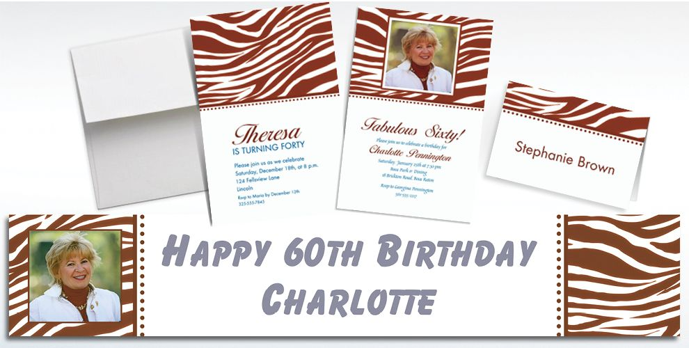 Custom Chocolate Brown Zebra Invitations and Thank You Notes