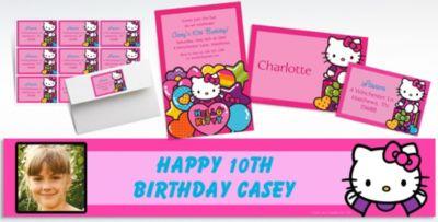 Custom Rainbow Hello Kitty Invitations Thank You Notes Party City
