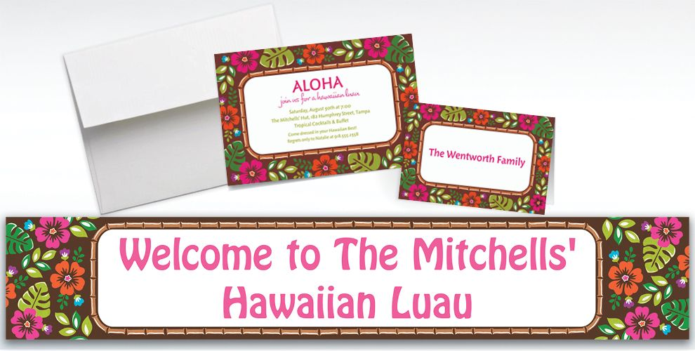Custom Summer Luau Invitations and Thank You Notes