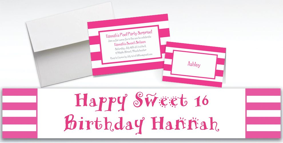 Custom Pink Cabana Stripe Invitations and Thank You Notes