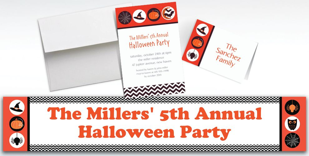 Custom Modern Halloween Invitations and Thank You Notes