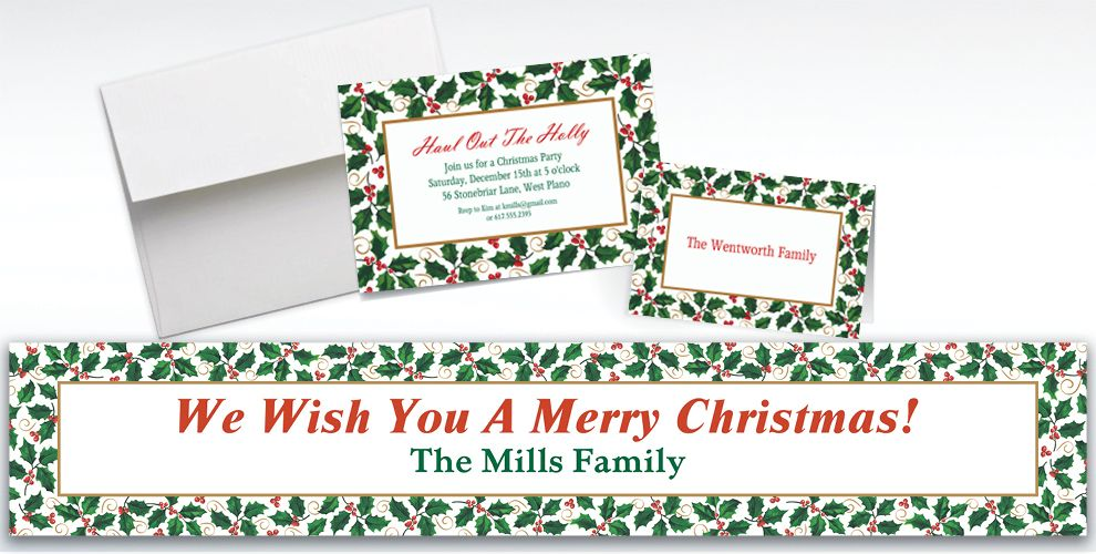 Custom Seasonal Holly Invitations and Thank You Notes