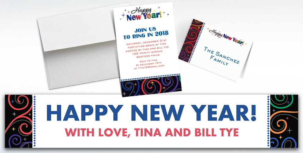 Custom Cheers to a New Year Invitations and Thank You Notes