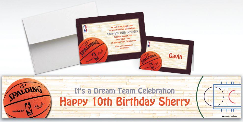 Custom NBA Spalding Invitations and Thank You Notes