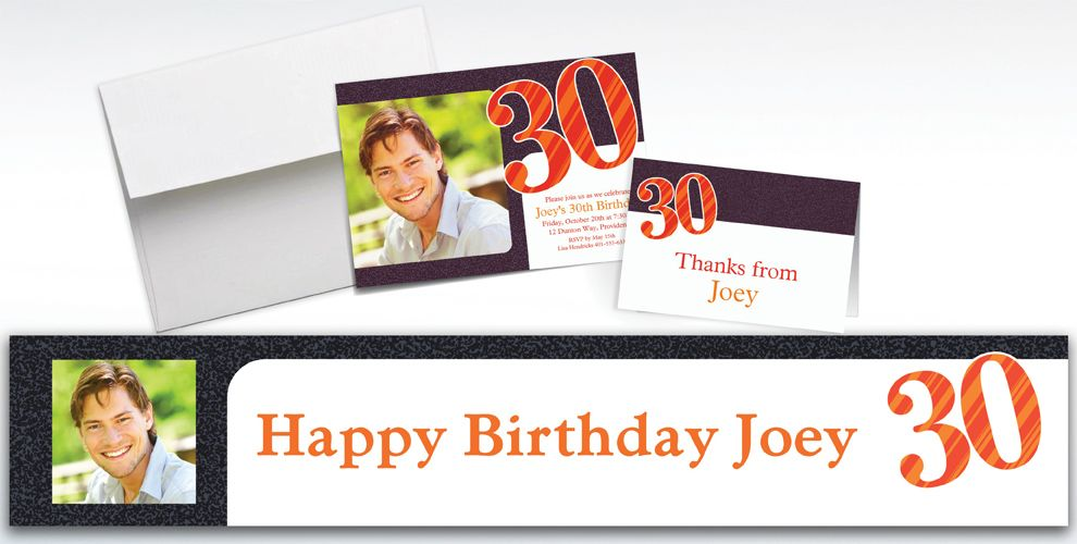 Custom Big Celebration 30 Photo Invitations, Thank You Notes and Banners