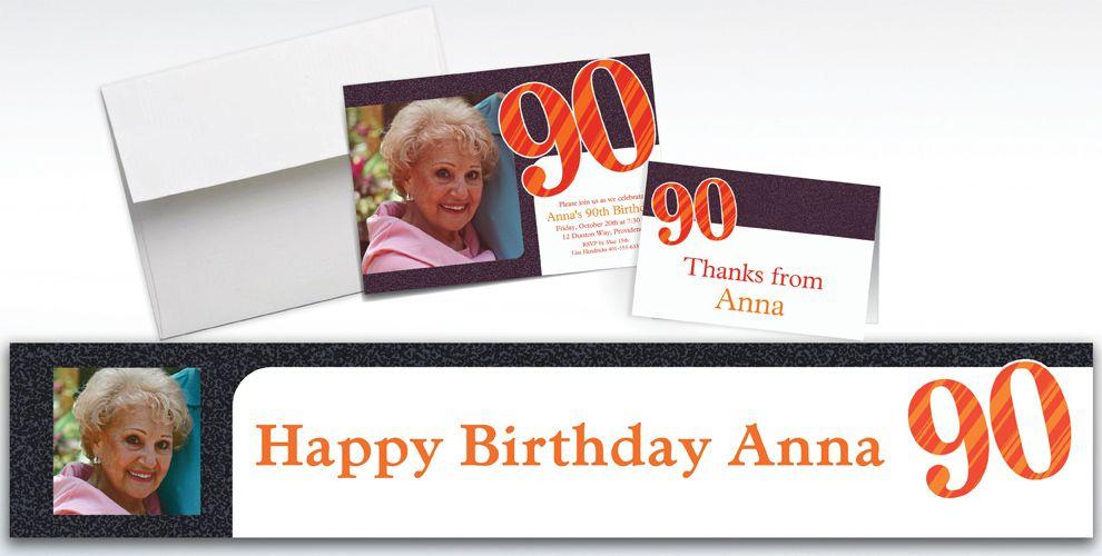 Custom Big Celebration 90 Photo Invitations