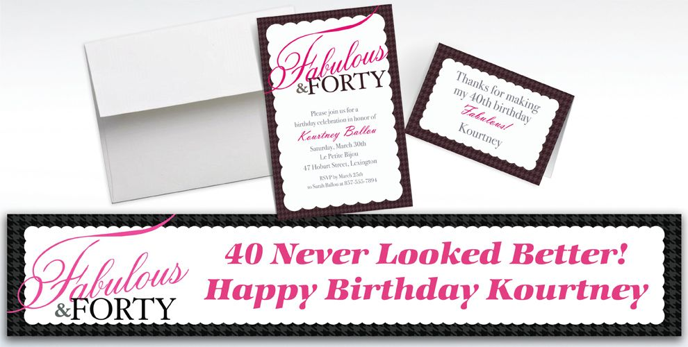 Custom Fabulous and Forty Invitations