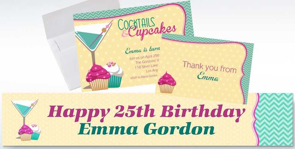 Custom Cocktails and Cupcakes Invitations and Thank You Notes
