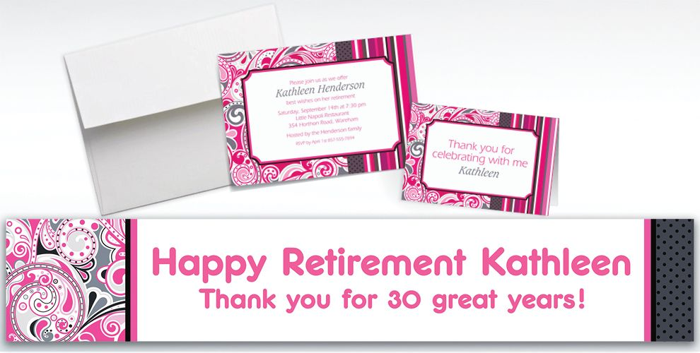Custom Pink Paisley Invitations and Thank You Notes