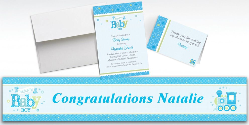 Custom Welcome Little One Boy Invitations and Thank You Notes
