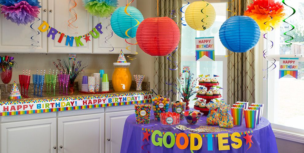 Rainbow birthday party supplies party city for Dekorasi pool party