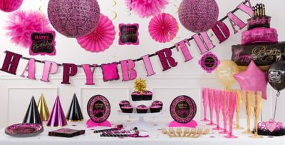 Damask Birthday Party Supplies Pink Black Party Decorations