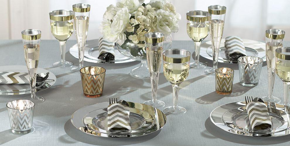 CLEAR Silver Border Premium Tableware