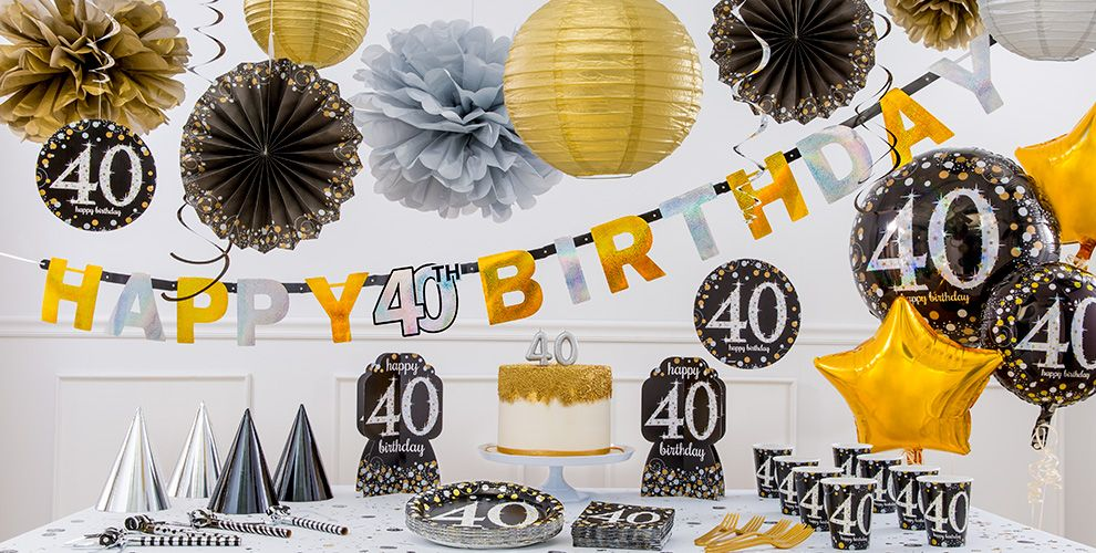 Sparkling celebration 40th birthday party supplies party for 40 birthday decoration ideas