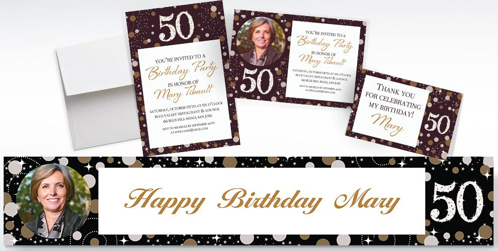 Custom Sparkling Celebration 50 Invitations and Thank You Notes