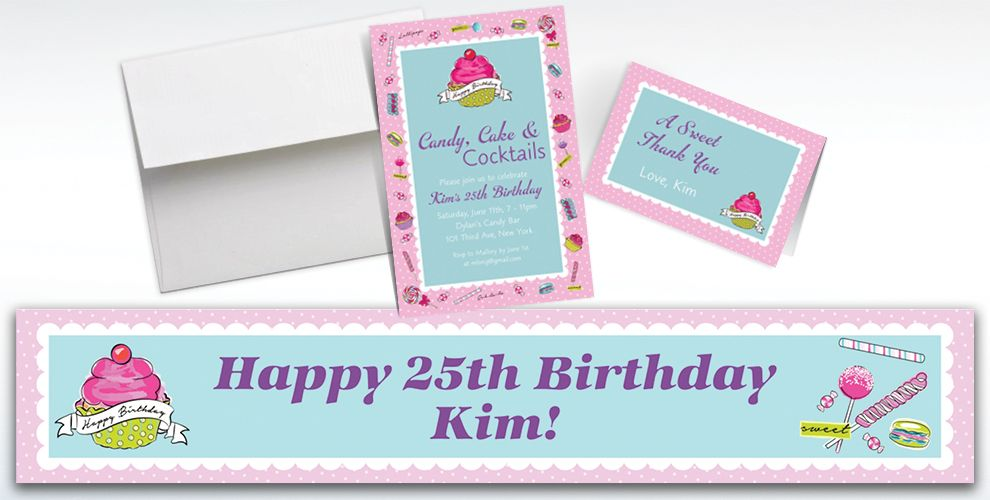 Custom Birthday Sweets Invitations and Thank You Notes