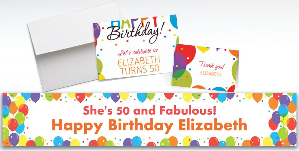 Custom Rainbow Balloon Bash Invitations and Thank You Notes