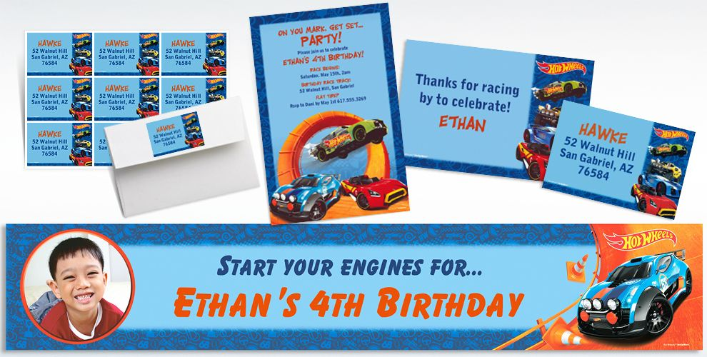 Custom Hot Wheels Wild Racer Invitations and Thank You Notes
