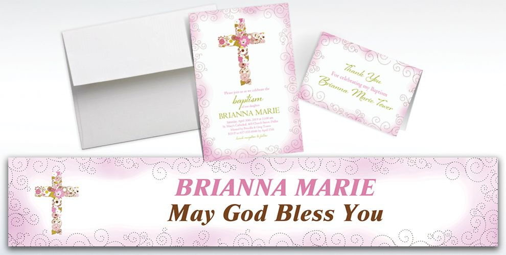 Custom Floral Cross Pink Invitations and Thank You Notes