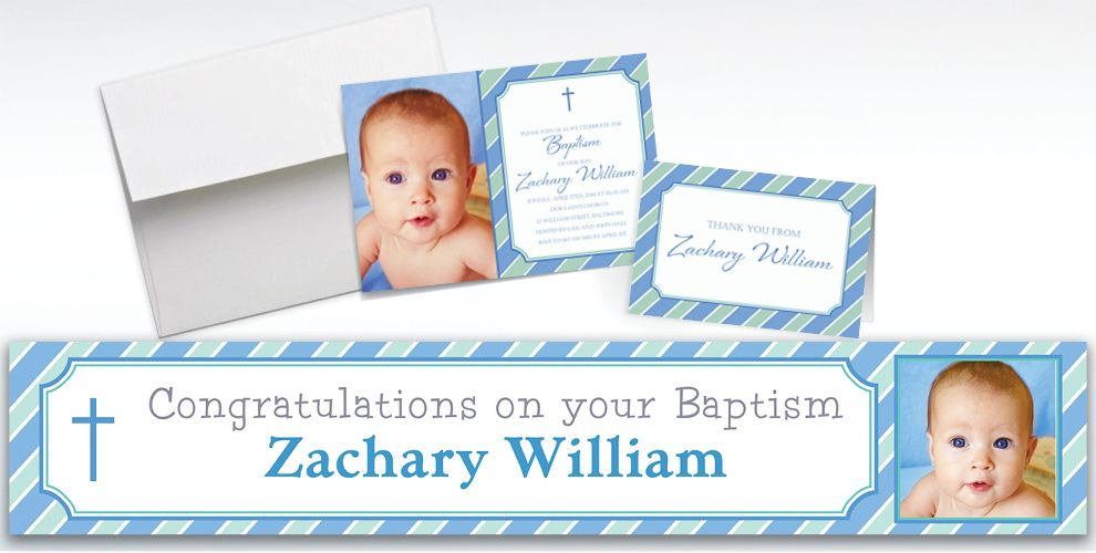 Custom Simple Cross and Stripes Invitations and Thank You Notes