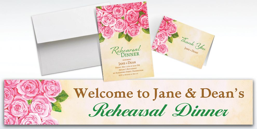 Custom Bundled Roses Invitations and Thank You Notes