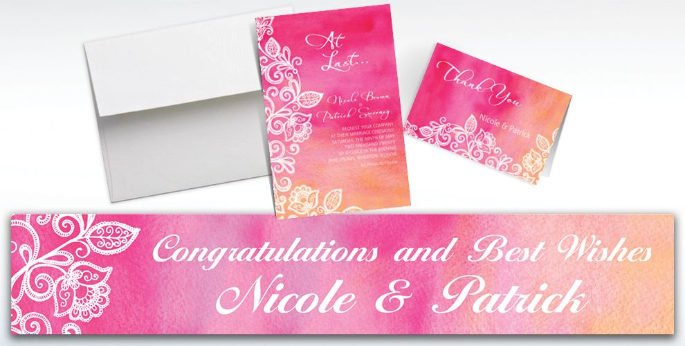 Custom Ombre Floral Warm Invitations and Thank You Notes