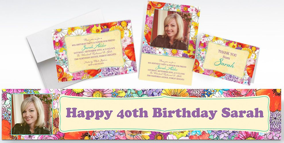 Custom Spring Garden Border Invitations and Thank You Notes
