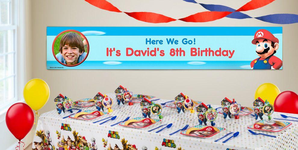 Custom Super Mario Birthday Banners