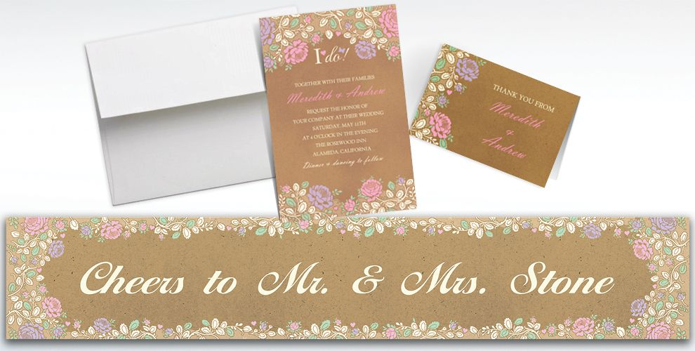 Custom Rustic Floral Wedding Invitations and Thank You Notes