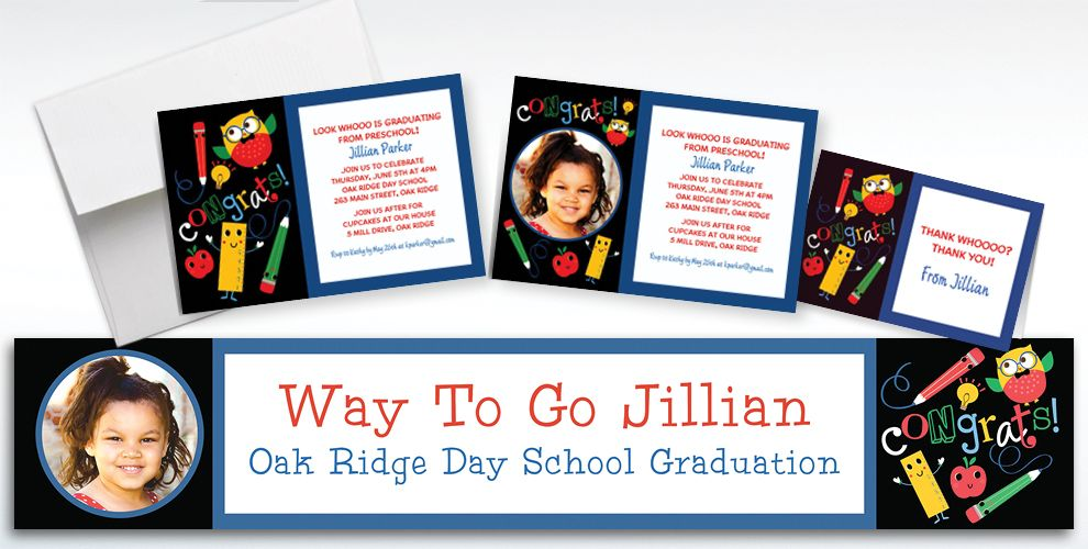 Custom Schoolhouse Chalkboard Graduation Invitations and Thank You Notes
