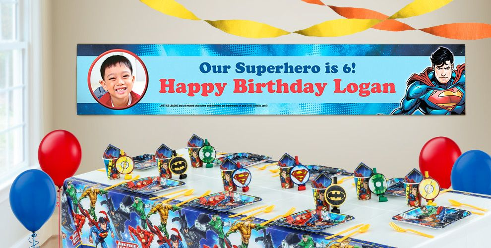 Custom Justice League Birthday Banners