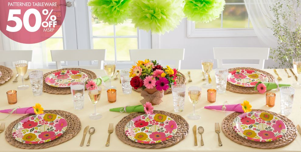 Coral Floral Party Supplies