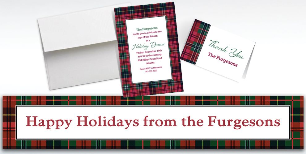 Custom Holiday Plaid Banners, Invitations and Thank You Notes
