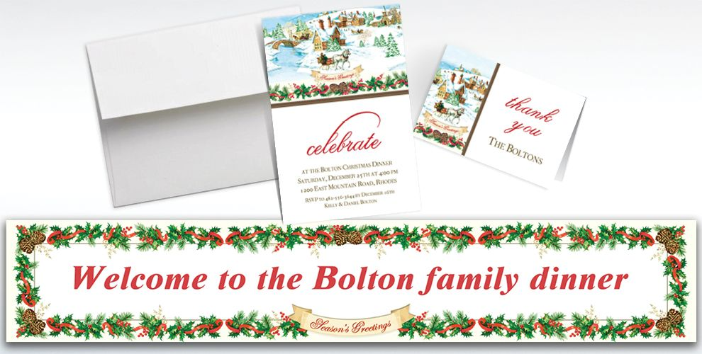 Custom Holiday Magic Banners, Invitations and Thank You Notes