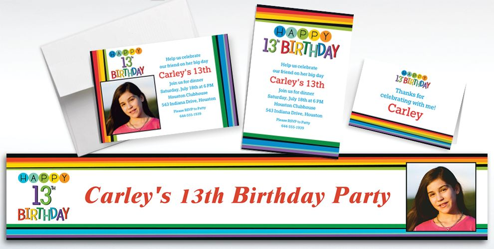 Custom Rainbow 13th Birthday Invitations, Thank You Notes and Banners