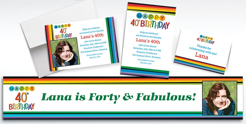 Custom Rainbow 40th Birthday Banners, Invitations and Thank You Notes