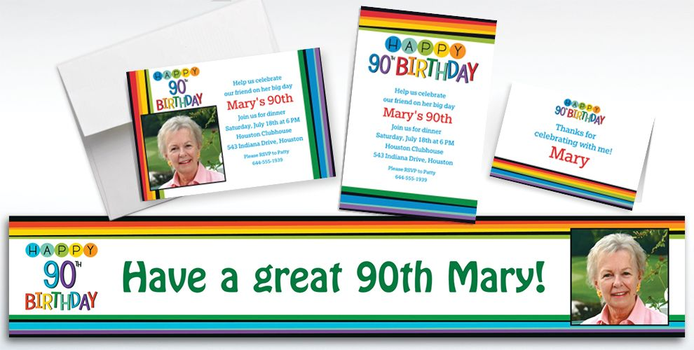 Custom Rainbow 90th Birthday Banners, Invitations and Thank You Notes