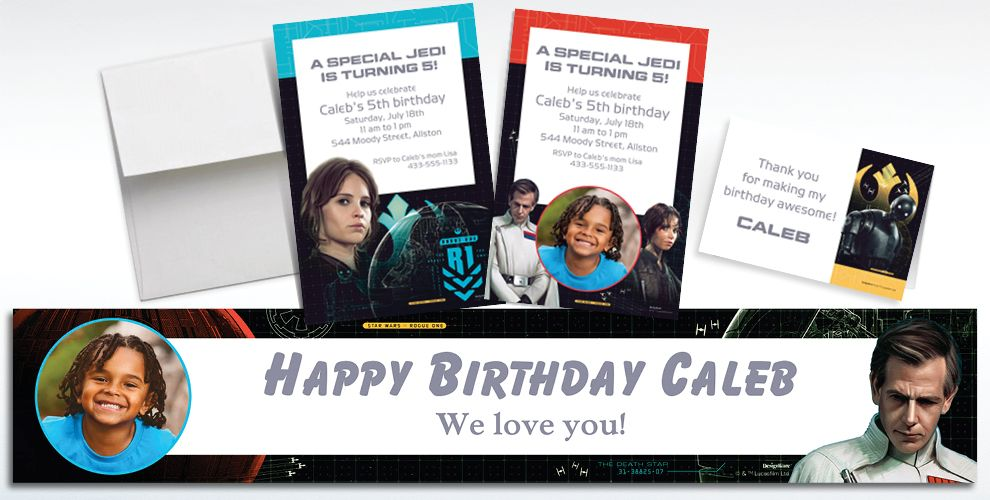 Custom Star Wars Rogue One Invitations, Thank You Notes and Banners