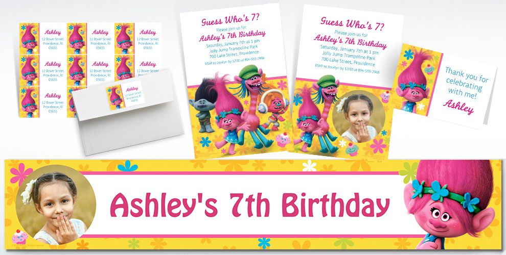 Custom Trolls Banners, Invitations & Thank You Notes | Party City