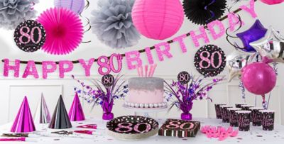 Pink Sparkling Celebration 80th Birthday Party Supplies Party City