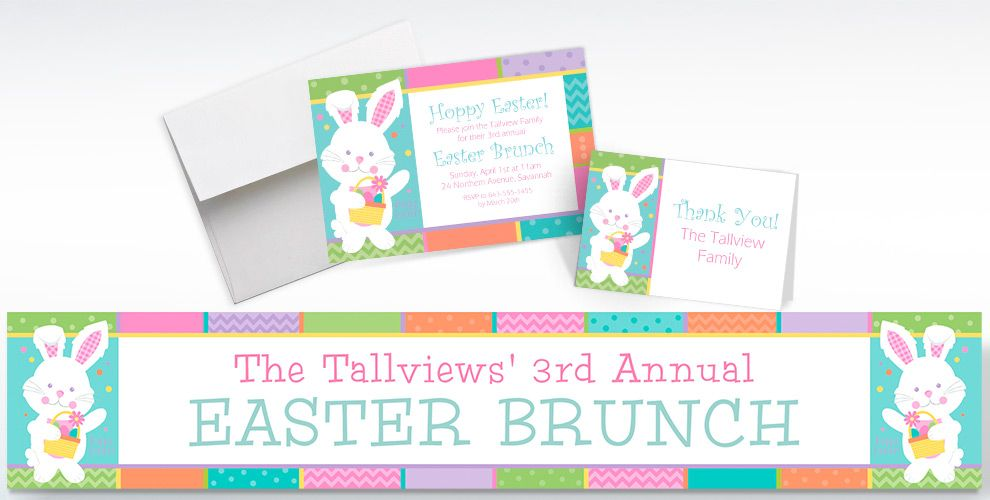 Custom Hippity Hop Easter Bunny Invitations, Thank You Notes and Banners