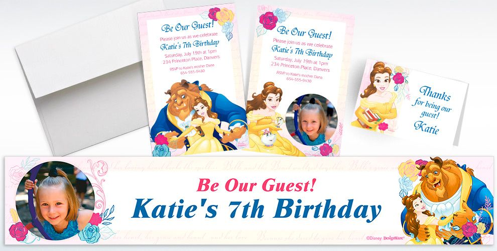 Custom Beauty and the Beast Invitations, Thank You Notes and Banners