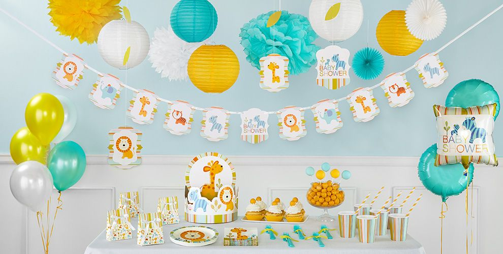 Happy Jungle Boy Baby Shower Party Supplies