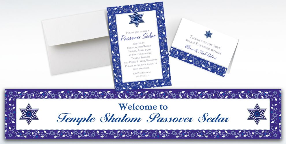 Custom Joyous Passover Invitations, Thank You Notes and Banners